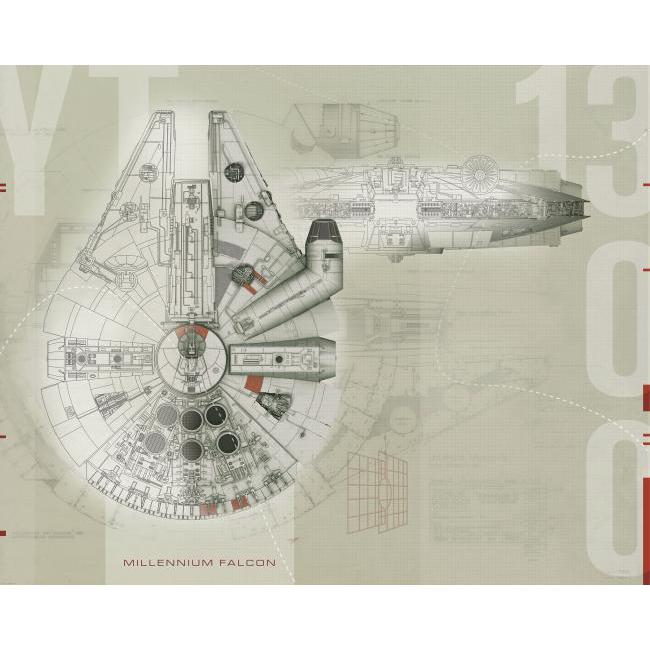 York Wallpaper JL1401M Star Wars Millennium Falcon ML