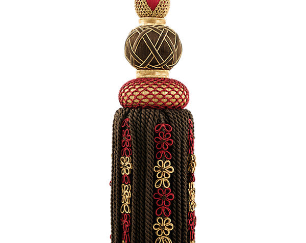 Scalamandre Trim LA3310-056 Siecle Single Tassel Tieback Ebony Bordeaux