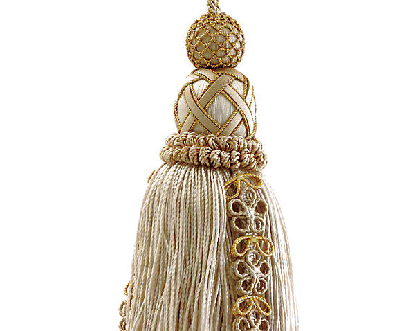Scalamandre Trim LA4467-054 Siecle Key Tassel Gilded Alabaster