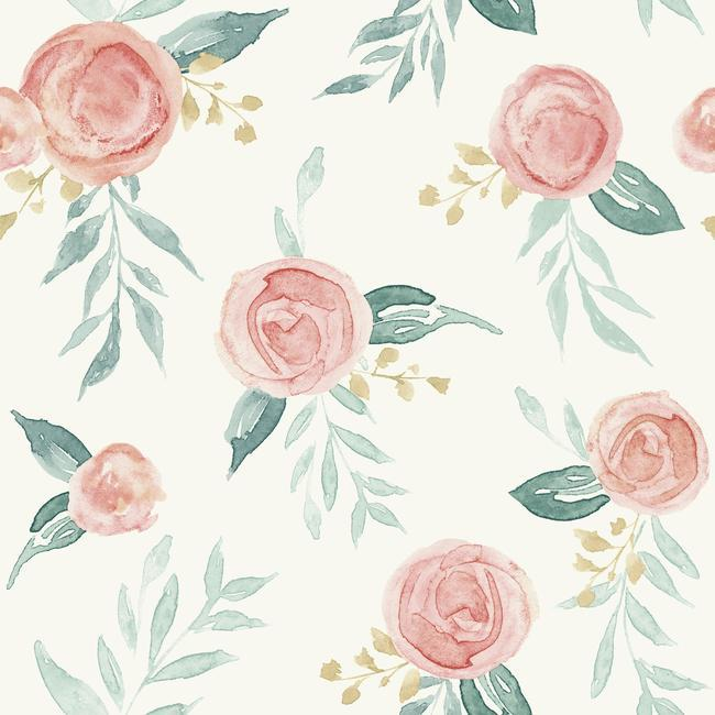 York Wallpaper PSW1011RL Watercolor Roses