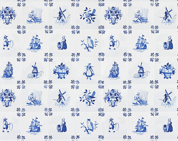 Scalamandre Wallpaper WNMTILE-001 Tile Play Blue