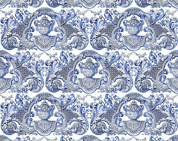 Scalamandre Wallpaper WNMWMMY-002 William & Mary Blue