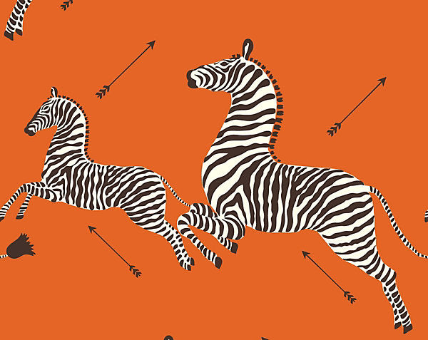 Scalamandre Wallpaper WP81388MV-012 Zebras - Vinyl Orange