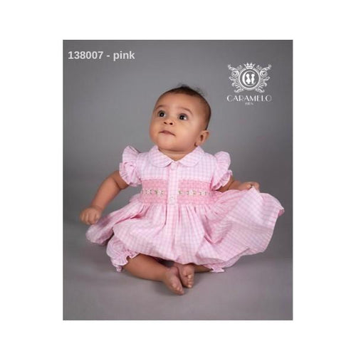 CARAMELO PINK CHECK BABY SMOCKED TWO PIECE