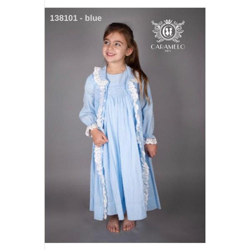 CARAMELO BABY BLUE SMOCKED DRESSING GOWN & MATCHING NIGHT DRESS