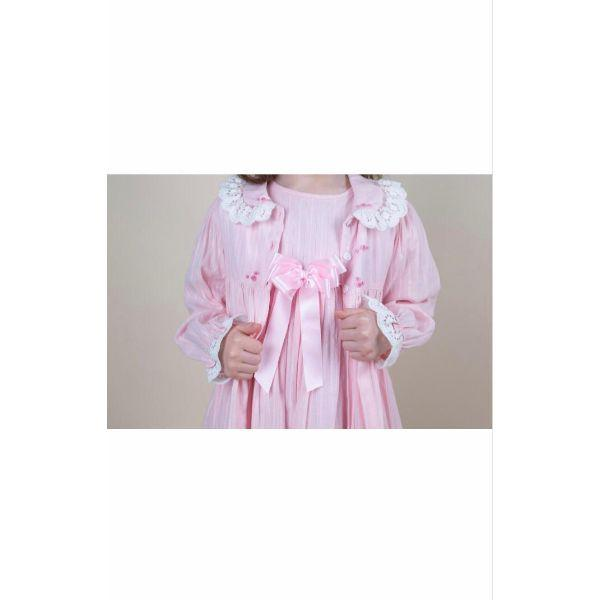 CARAMELO BABY PINK LINEN DRESSING GOWN & MATCHING NIGHT DRESS
