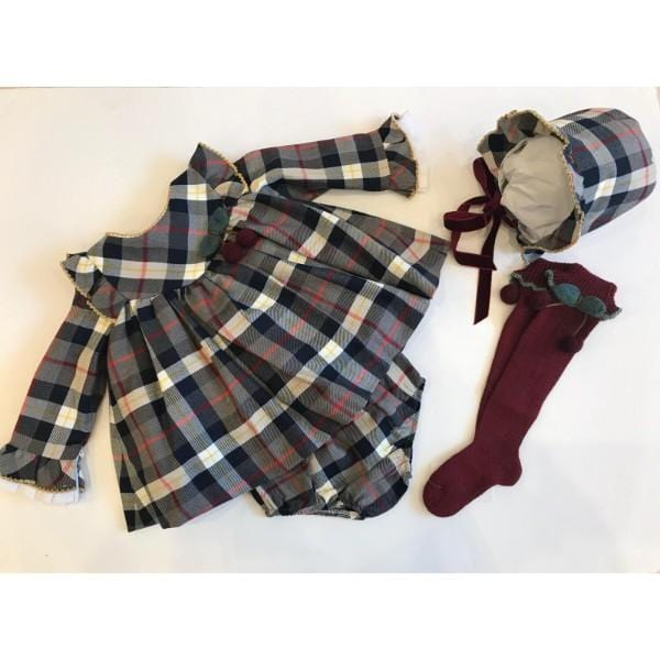 KAULI CHERRY BABY GIRL SET WITH BONNET KNICKERS AND SOCKS