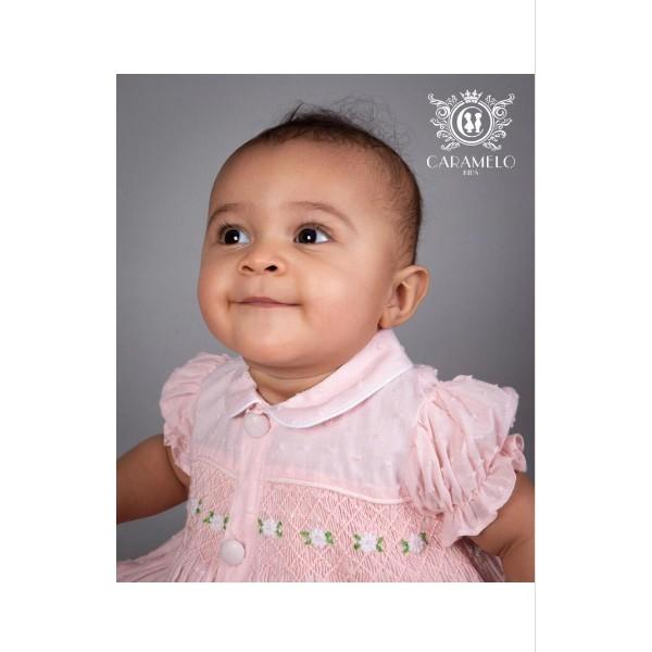 PRE ORDER CARAMELO PINK BABY SMOCKED TWO PIECE