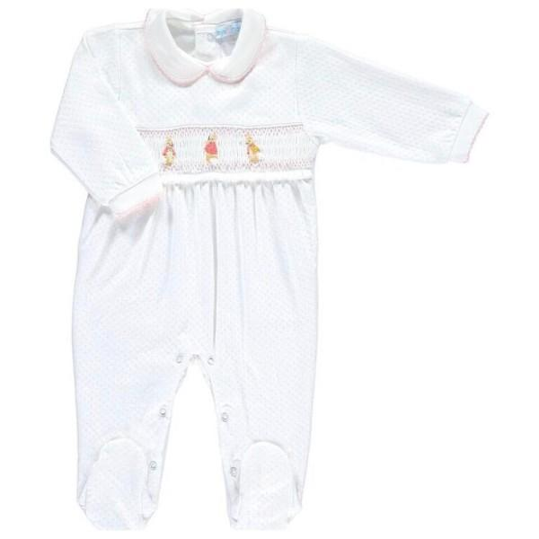 MINI-LA-MODE FLOPSY MOPSY WHITE JACQUARD SMOCKED FOOTSIE