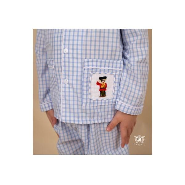 CARAMELO BLUE CHECK SOLDIER SMOCKED PYJAMAS