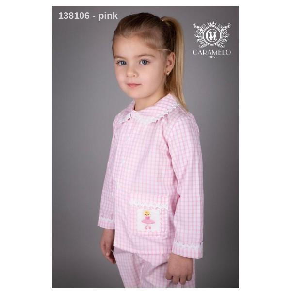 CARAMELO PINK CHECK FAIRY SMOCKED PYJAMAS