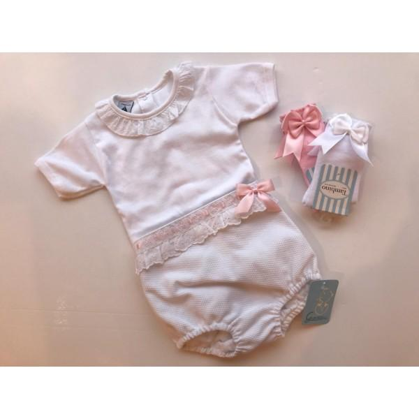 WHITE WITH BABY PINK RIBBON DETAIL JAM PANT SET