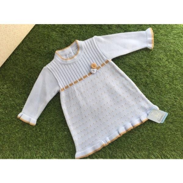 GRANLEI BABY BLUE A LINE DRESS WITH CAMEL TRIM