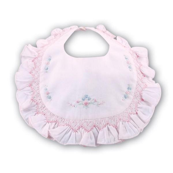 SARAH LOUISE PINK HAND EMBROIDERED BIB SUMMER 2019