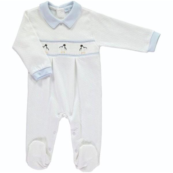 MINI-LA-MODE PENQUIN SMOCKED FOOTSIE JACQUARD FOOTSIE
