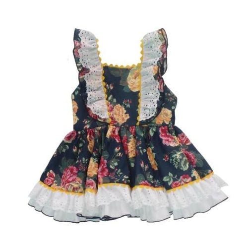 NINI NAVY VINTAGE FLORAL PUFFBALL  DRESS