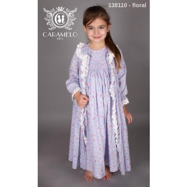 CARAMELO FLORAL SMOCKED DRESSING GOWN & MATCHING NIGHT DRESS