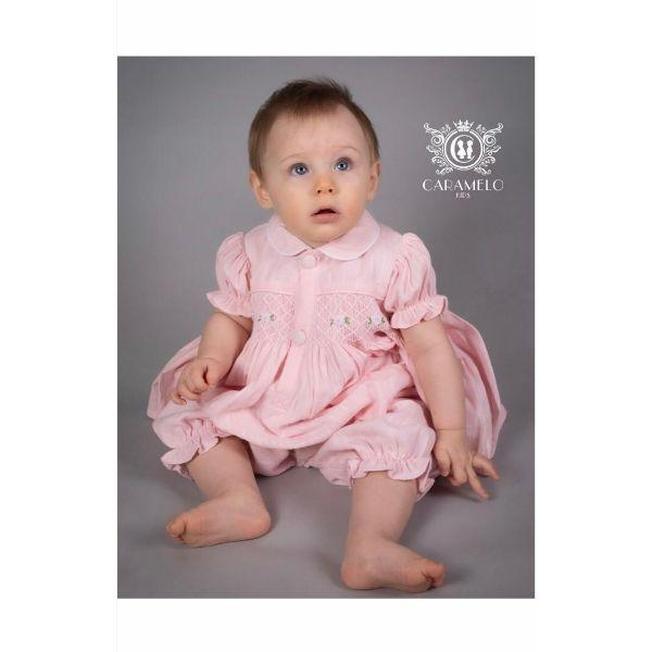 CARAMELO PINK BABY SMOCKED LINEN TWO PIECE