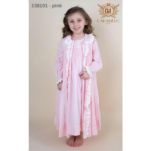 CARAMELO BABY PINK SMOCKED DRESSING GOWN & MATCHING NIGHT DRESS