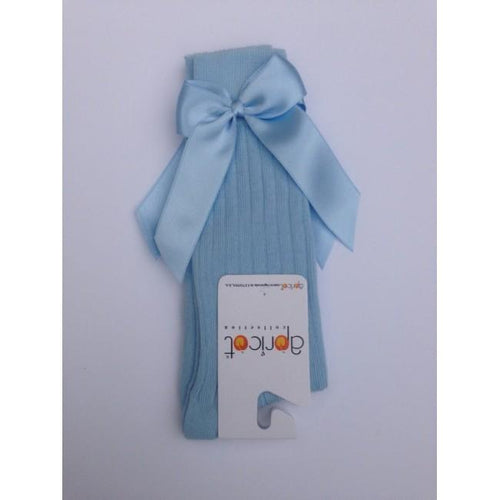 APRICOT BABY BLUE KNEE HIGH BOW SOCKS