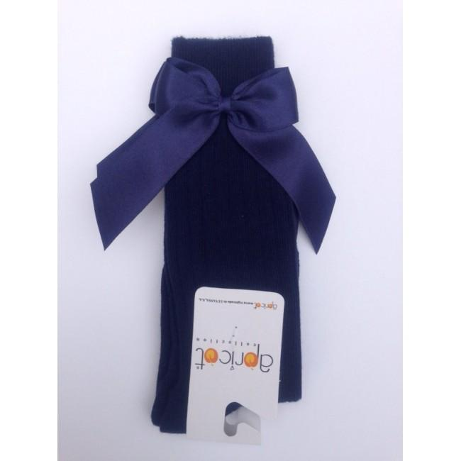 APRICOT NAVY BLUE KNEE HIGH BOW SOCKS