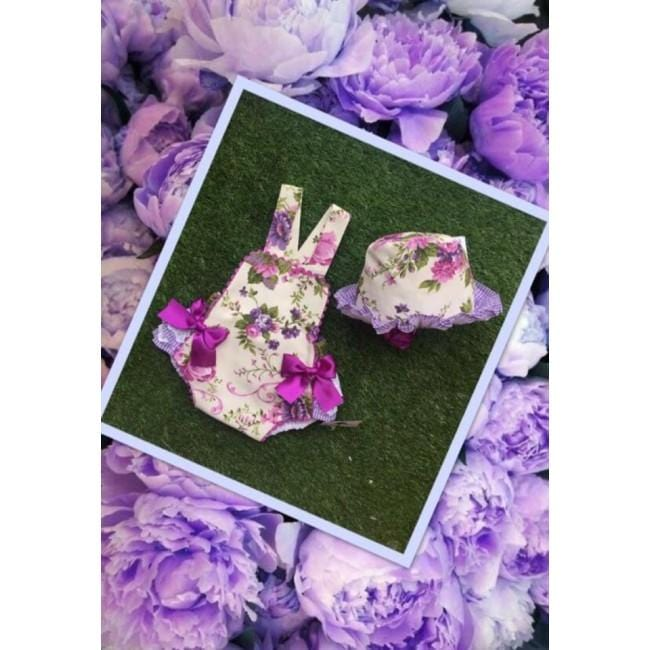 Copy of BLUEBELLS PURPLE ROMPER WITH HAIRBAND
