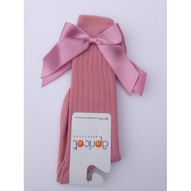 APRICOT PINK KNEE HIGH BOW SOCKS