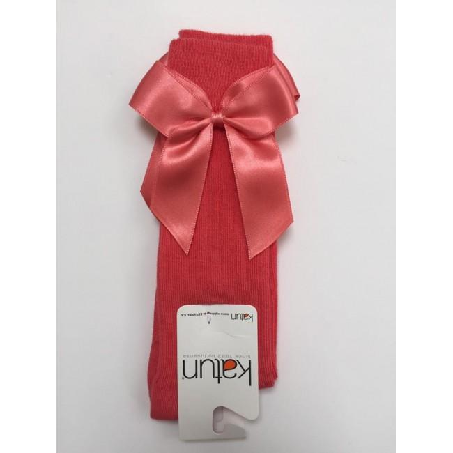APRICOT CORAL KNEE HIGH BOW SOCKS