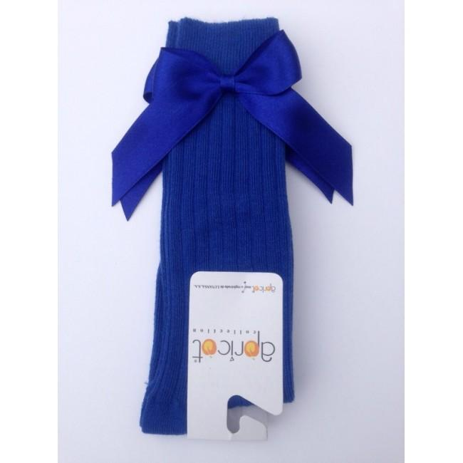 APRICOT ROYAL BLUE KNEE HIGH BOW SOCKS