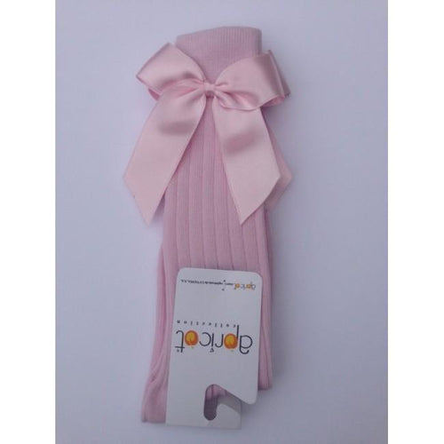 APRICOT BABY PINK KNEE HIGH BOW SOCKS