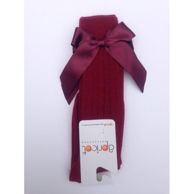 APRICOT BURGUNDY KNEE HIGH BOW SOCKS