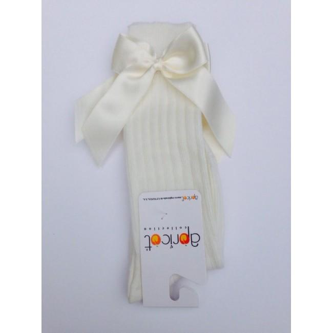 APRICOT CREAM KNEE HIGH BOW SOCKS