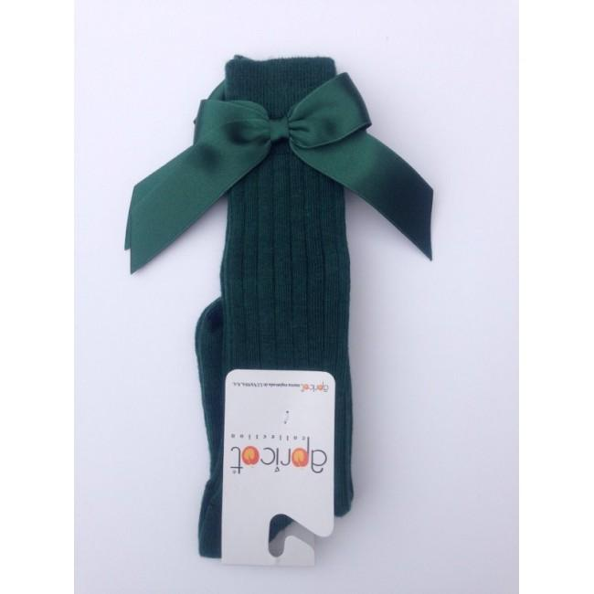 APRICOT GREEN KNEE HIGH BOW SOCKS