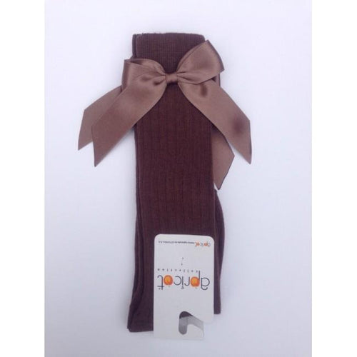 APRICOT DARK BROWN KNEE HIGH BOW SOCKS