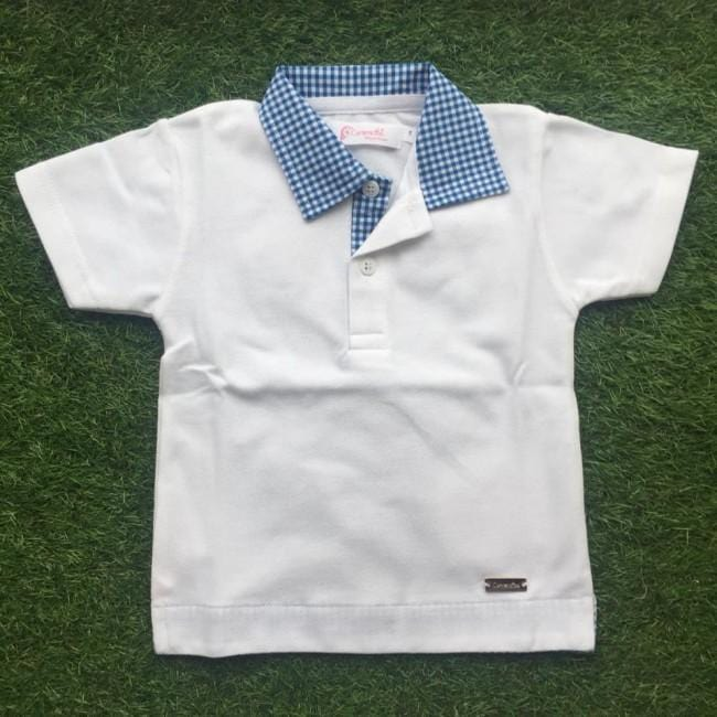 CARMENCITAS BLUE GINGHAM COLLAR POLO TOP