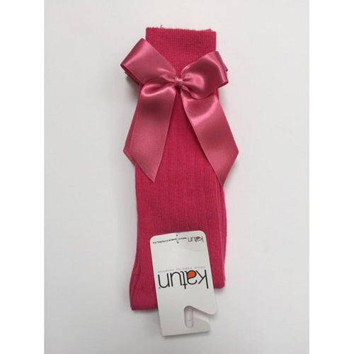 APRICOT FUSCSIA PINK KNEE HIGH BOW SOCKS