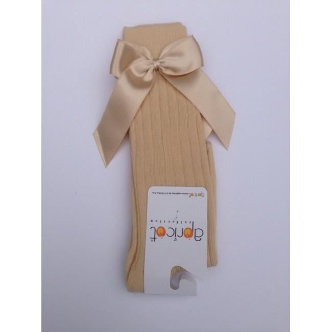 APRICOT CAMEL KNEE HIGH BOW SOCKS