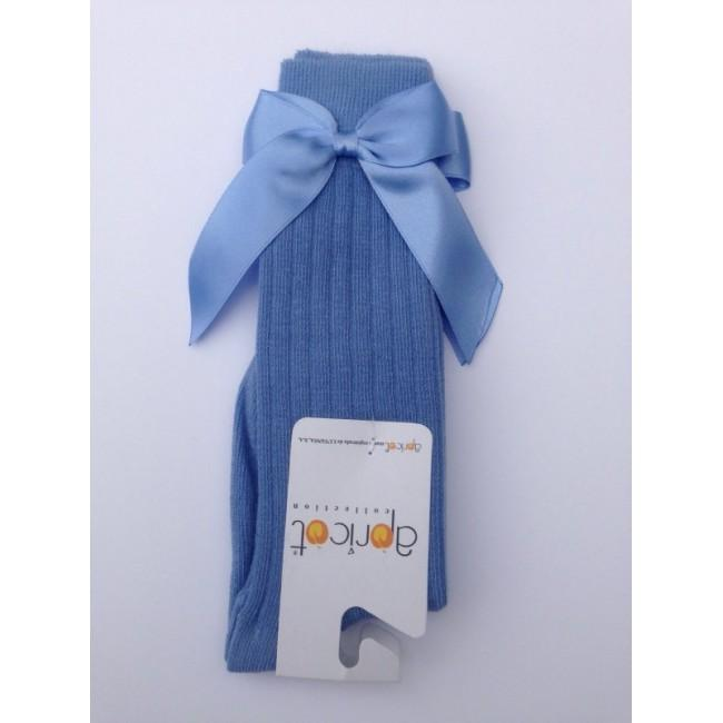 APRICOT DUSKY BLUE KNEE HIGH BOW SOCKS