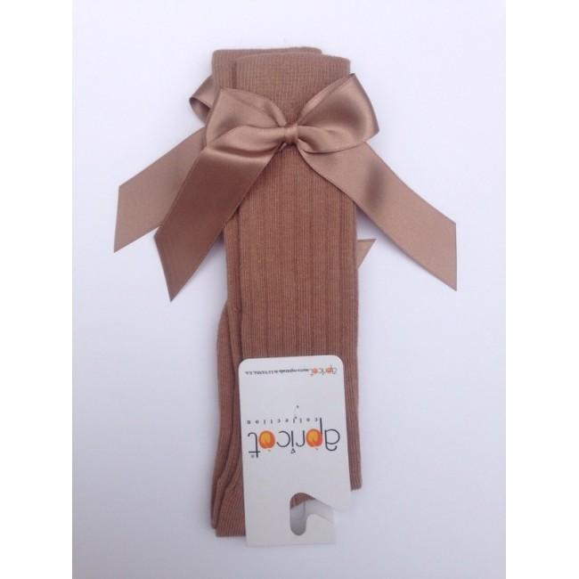 APRICOT LIGHT BROWN KNEE HIGH BOW SOCKS