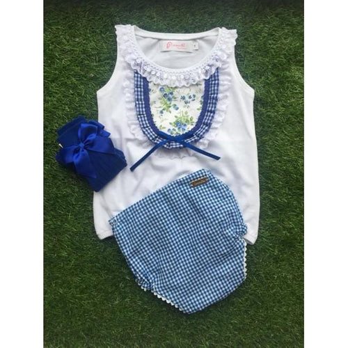 CARMENCITAS BLUE GINGHAM KNICKER & TOP SET