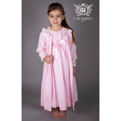 CARAMELO BABY PINK CHECK DRESSING GOWN & MATCHING NIGHT DRESS