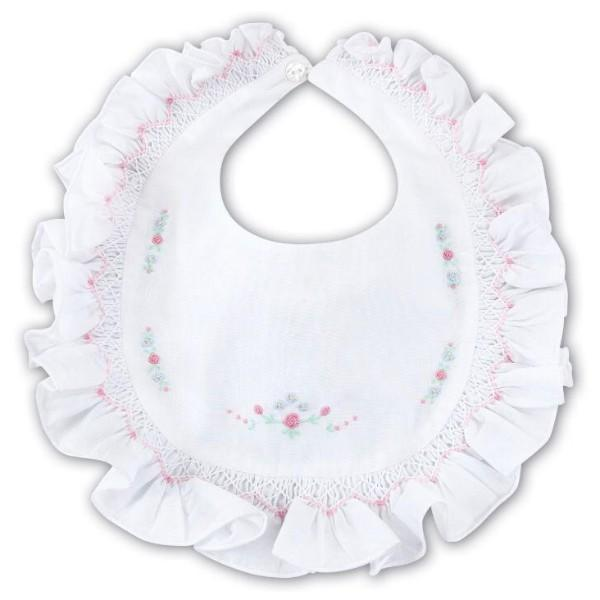 SARAH LOUISE WHITE HAND EMBROIDERED BIB SUMMER 2019