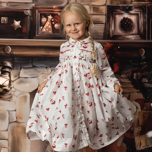 CHRISTMAS SMOCKED DRESSING GOWN & MATCHING TWO PIECE SET