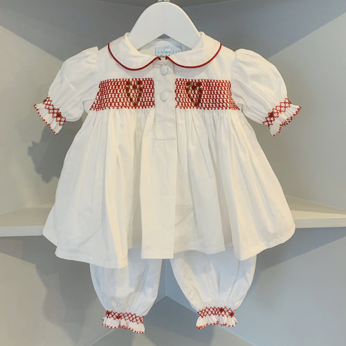 HANDMADE SMOCKED RED LOVE HEART PJ'S