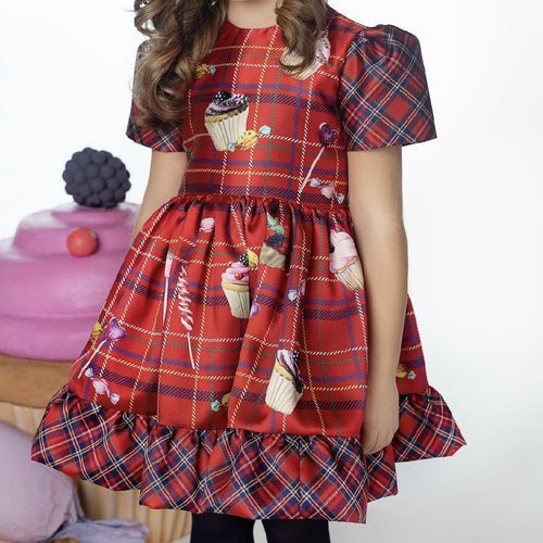 EIRENE CHECKERED RED DRESS WITH CANDIES PRINT AND SWAROVSKI CRYSTALS
