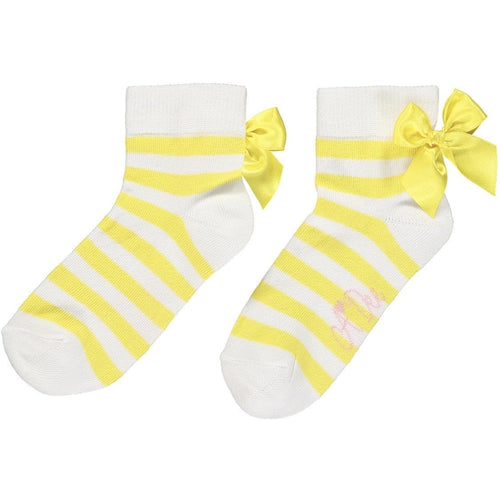 A DEE ROSE LEMON STRIPE ANKLE SOCKS BEA S202919