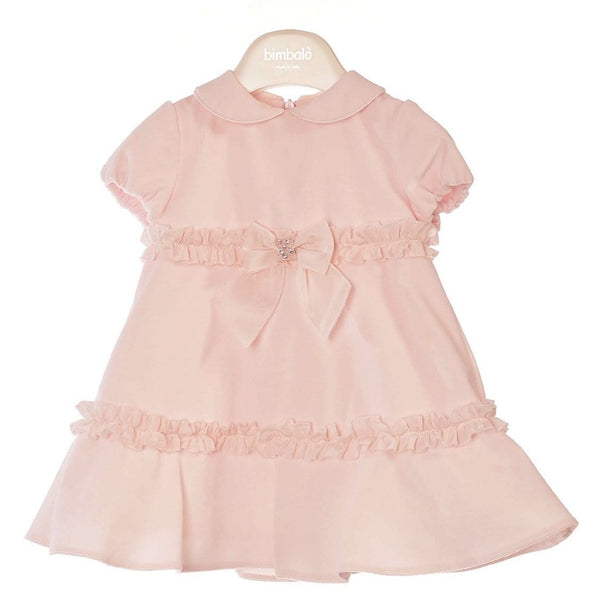BIMBALO PINK PETERPAN COLLAR  BOW DRESS