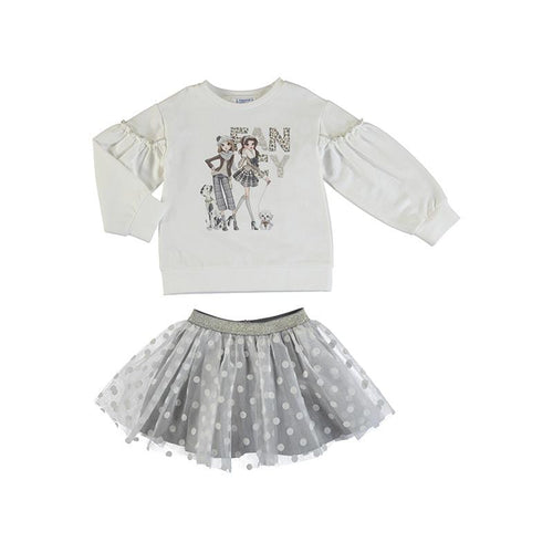 MAYORAL GREY TULLE SKIRT & TOP