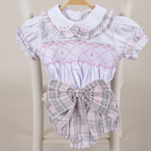 CARAMELO KIDS GREY AND PINK SMOCKED SET