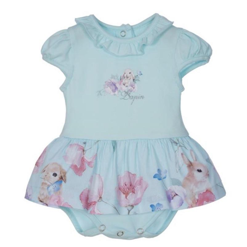 LAPIN HOUSE MINT RABBIT FRILL ROMPER & HAIRBAND